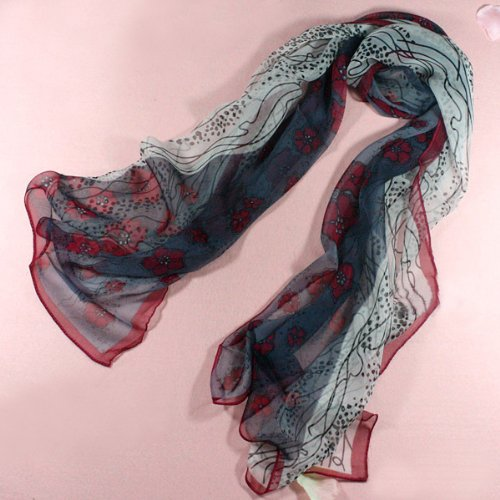 Chiffon/satin Grape Flowers Print - Silk Long Scarf 66