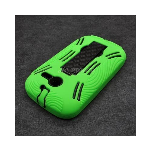 For Huawei Ascend Y M866 H866C Hybrid Hard Rubber Case Black Green