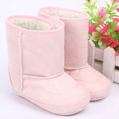 HuaYang Baby Infant Toddler Soft Warm Snow Boots Winter Fur Shoes(Pink: L)