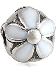 White Enamel Darling Daisies Charm 925 Sterling Silver Clip Bead For European Compatible Brand Bracelet