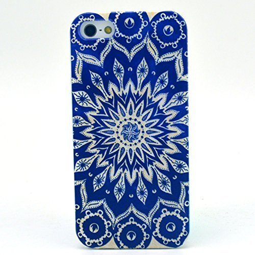 Iphone 5c Case, JAHOLAN Blue Totem Flower Painting Clear Bumper TPU Soft Case Rubber Silicone Skin Cover for iphone 5c (Iphone 5c Flower Case Protective compare prices)