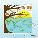 Harbor-Tower shower curtains, waterproof and mildew, frog growth 72x72(inches)