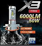 16000LM! オールインワン 1年保証LED ヘッドライト H4 Hi/Lo 8000LM H4/HI/LO/H7/H8/H11/H16/HB3/HB4 8000lm*2 16000lm ホワイトLED 超MINIサイズ登場! (H4 HI/LO)