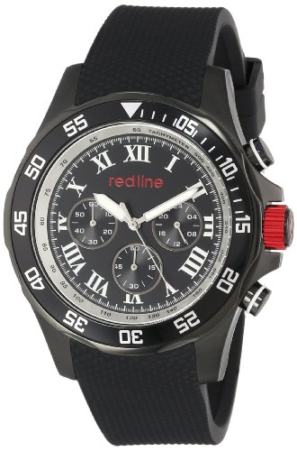 Red Line Tracker 60025 46mm Stainless Steel Case Black Rubber Mineral Men's Watch