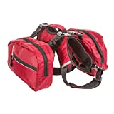 BINGPET Adjustable Dog Backpack for Hiking Camping Travel Pack Outdoor Accessory Saddlebag, Red M