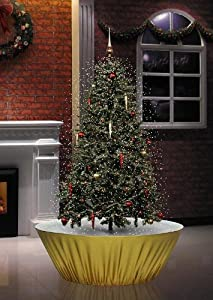 #!Cheap Snowing Christmas Tree 6 Feet 8 Inches Tall with White LED Lights and Red and Gold Ornaments
