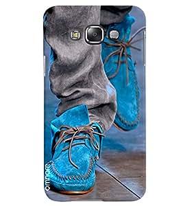 Omnam Sky Blue Canvas Shoes Design Back Cover Case For Samsung Galaxy E7