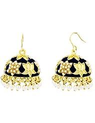 The Jewelbox Lotus Gold Plated Black Meenakari Jhumki Earring For Women