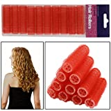 AMOS 10 Piece Velcro Small 10mm Sleep Snooze Curling Salon Hair Styling Tools Self Grip Cling Hair Rollers Curlers Set Kit (Red)