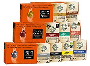Choose 100 Biodegradable Nespresso compatible Capsules | Ethical Coffee Familly Pack - Ethical Coffee