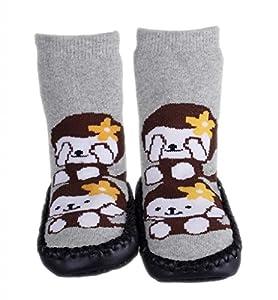 La vogue Zapatillas Calcetines Para Bebé Niños Primeros Pasos Patrón Negro Mono de La vogue en BebeHogar.com