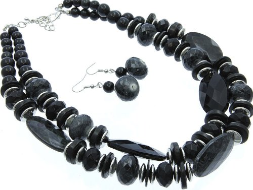 NECKLACE AND EARRING SET BEAD GLASS BEAD BLACK Fashion Jewelry Costume Jewelry fashion accessory Beautiful Charms