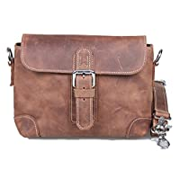 Amango Vintage Genuine Leather Messenger Bag for Men Brown A3047