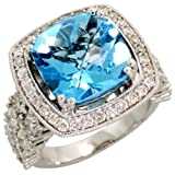 14k White Gold Square-shaped Large Stone Ring, w/ 3.00 Carats Brilliant Cut Diamonds & 9.41 Carats 12mm Cushion Cut Blue Topaz Stone, 3/4 in. (18mm) wide