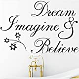 Dream Imagine Believe Wall Quote Sticker art Decal Vinyl Baby Room Decor Mural
