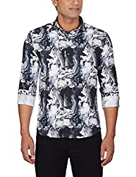 Punctuate Men's Casual Shirt (0666995112687_PNS161760_xx-large_Black Paint Print)