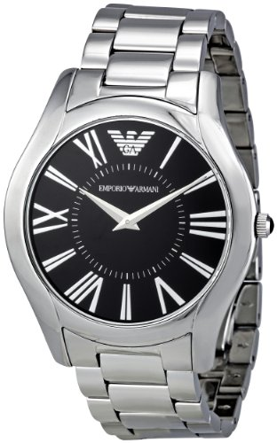 Emporio Armani Men's AR2022 Slim Black Lacquered Dial Watch