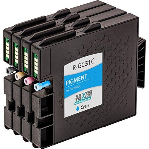 4x Cartucce d'inchiostro compatibili con il circuito integrato per Ricoh GC 31, per esempio, per Lanier GX 3300 N e / e 3300 Series / e 3350 N / Ricoh Aficio GX e 2600 / GX e 3300 / GX e 3300 s / s 3300 Serie GX / GX 3350 e n