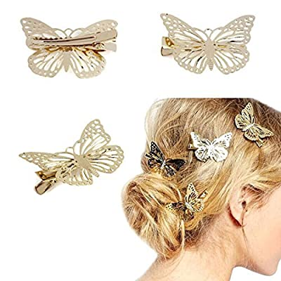 Lowpricenice1 Pair Luxury Golden Butterfly Hair Clip Hair Pins Hair Accessories Headpiece