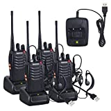 Neoteck 4 PCS Walkie Talkies 2 Way Radio UHF 400-470MHz Walky Talky Long Range with Original Earpieces 16CH Single Band with LED Light Voice Prompt for Field Survival Biking Hiking (Color: Black, Tamaño: 4 PCS)