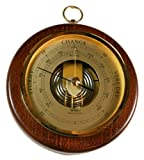 "Fischer 1436R-12 6 1/2"" Open Face Wood and Brass Barometer"