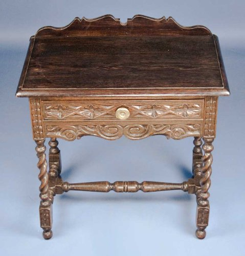 Antique Carved Oak Barley Twist Side Table