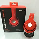 STN-16 Wireless Bluetooth Headset Earphone Headphone With Micro SD Card Slot FM (Red) (Color: Red)