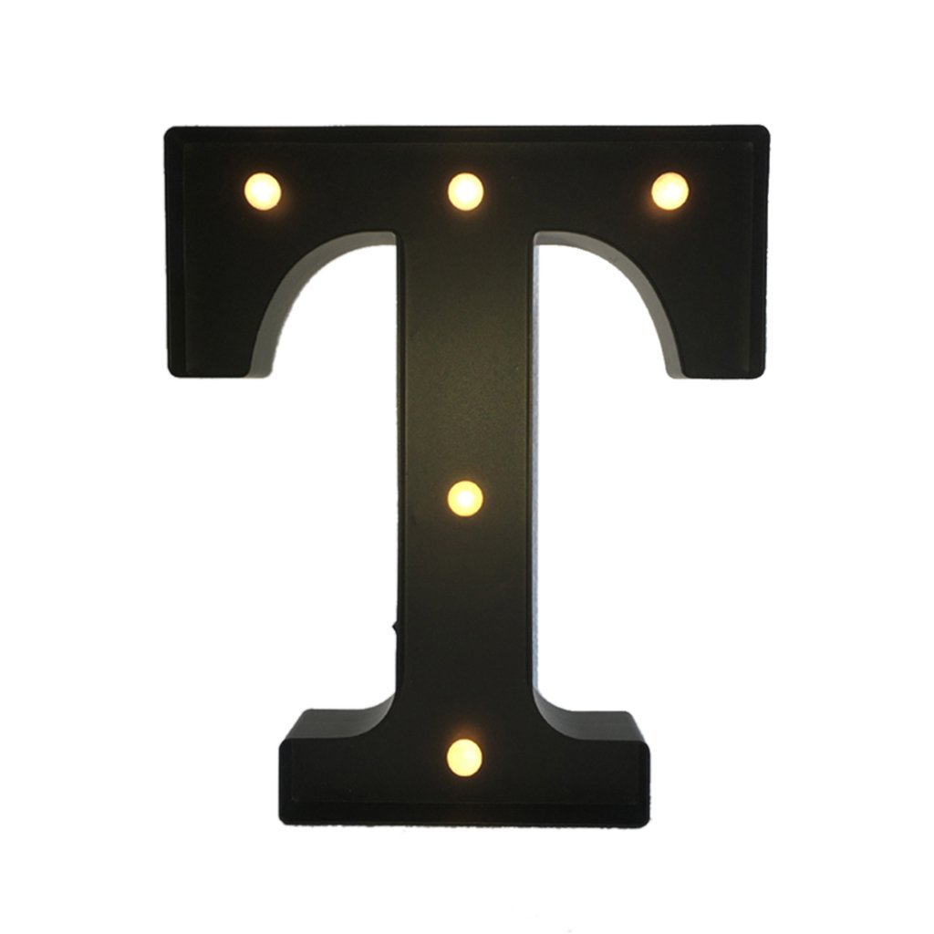 Black 12inch LED Vintage Letter Light Circus Style Alphabet Light Up Signs A - Z - Black T, 30cm 0