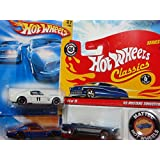 Hot Wheels Detailed Diecast 1965 Ford Mustang Set: Classics Series #4 With Button Convertible Red Line #4/15, Street Beast Series Issue, Including The White Black Wheel with Blue Twins Down Top Side 40th Anniversary Card Issue {3 Pieces} 1/64 Scale Collection.