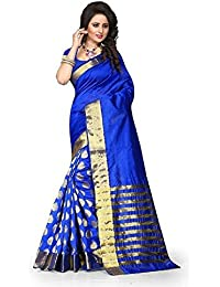 High Glitz Fashion Women's Cotton Saree With Blouse Piece (Ss::Hgf1084Md_Blue)