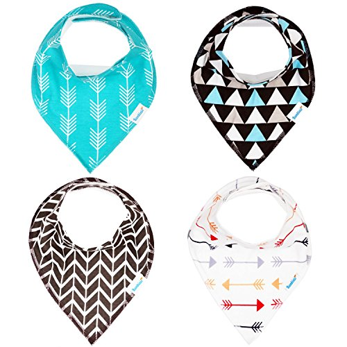 Bandana Baby Bib Set by Bambinio - 4 Unisex Design Drool Bibs for Boys and Girls - Best Newborn and Baby Shower Gift - Soft, Comfortable and Adjustable Review