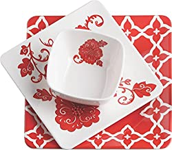 Servewell Red Barcelona Dinner Set, 4-Pieces