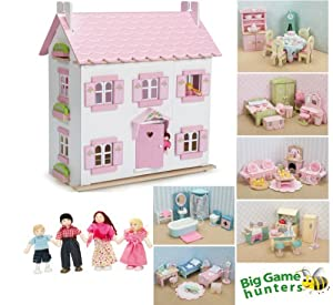 Le Toy Van Sophies House Dolls House with Furniture (6 sets Daisylane Furniture + My Family)