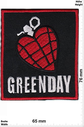 Patch - Greenday - Heartbomb - black- red - MusicPatch - Rock - Chaleco - toppa - applicazione - Ricamato termo-adesivo - Give Away
