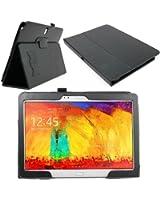 Etui aspect cuir noir DURAGADGET avec stand de maintien pour tablette tactile Samsung Galaxy TabPRO 10.1 Wifi 3G 4G / LTE (SM-T520 & SM-T525) Android 4.4 KitKat- Garantie 5 ans