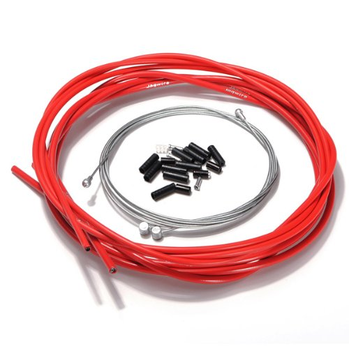 sodialr-bike-bicycle-complete-front-rear-inner-outer-wire-gear-brake-cable-set-red