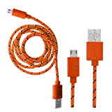 Wayzon Orange Strong Nylon Braided Unbrakable High Speed Sync Micro USB Data Cable Lead Charger For Samsung E2152 / E2252 / E2330 / E2370 Xcover / E2600 / E2652 Champ Duos