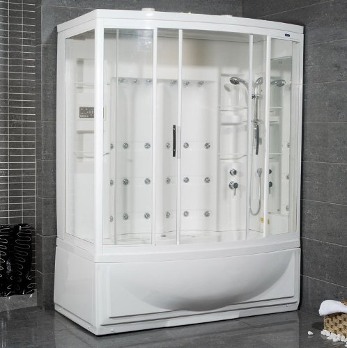 Ariel-Bath-ZAA210-R-Ameristeam-Steam-Shower-Sauna-68-x-42-Semi-Bow-Front-with-Whirpool-Tub-Right-Configuration
