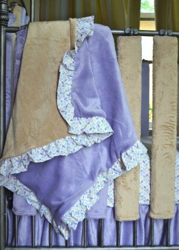Go Mama Go Designs Lavender & Latte Minky Blanket with Love Petal Ruffle Trim