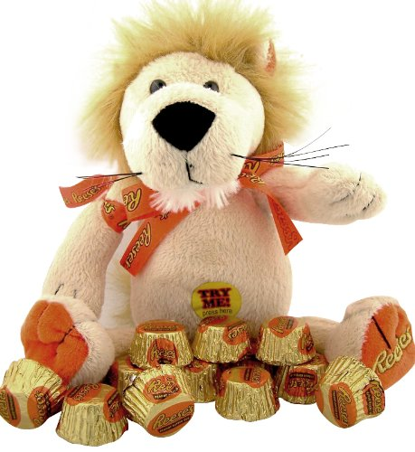 Plush Stuffed Animal Toy Orange & Brown Rapping Lion with Reeses Peanut Butter Candy - 1