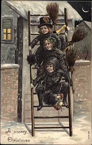 three-chimney-sweeps-on-ladder-children-original-vintage-postcard