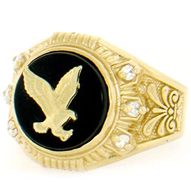 9ct Solid Yellow Gold Round Onyx Eagle CZ Mens Ring