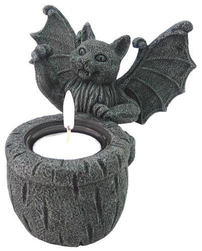 4 Inch Decorative Playing Gargoyle Cat Tealight Candle Holder