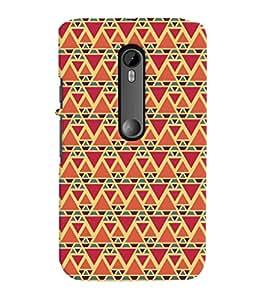Printvisa Red And Orange Triangle Patterns Back Case Cover for Motorola Moto G3::Motorola Moto G (3rd Gen)