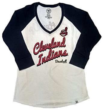 Cleveland Indians 47 Brand Ladies White Batter up 3 4 Sleeve T-shirt by
