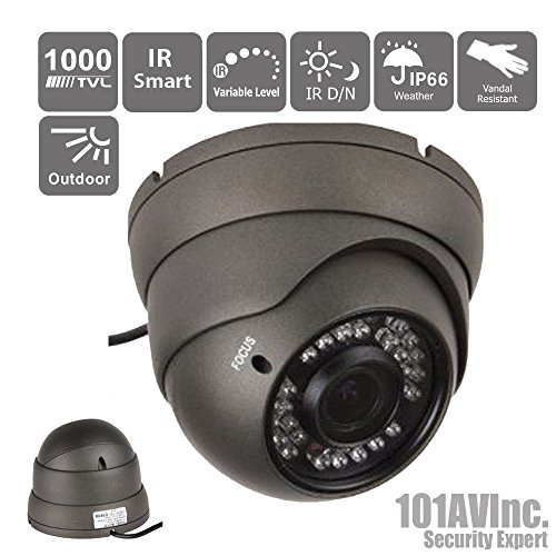 """101Av 700Tvl Dome Security Camera 2.8-12Mm Varifocal Lens 1/3"""" Sony Super Had Ii Ccd 100Ft Ir Range 36Pcs Infrared Leds Weatherproof Vandal Proof Metal Housing High Resolution Color Wide Angle View Day Night Vision For Cctv Outdoor Dc 12V Charcoal"""