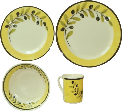 Be-Active Palermo Olive 16-piece Melamine Tableware Set