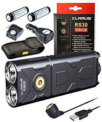Klarus RS30 CREE XM-L2 U2 LED Compact and Lightweight Dual Head Rechargeable Flashlight 2400 Lumens w/ 2x Xtar 18650 2600mAh Li-ion Battery and Lightjunction USB Car & Wall Charger plug from Klarus