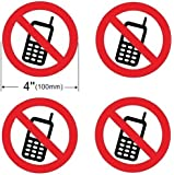 INDOOR (4 Pack) NO PHONE 4'' Dia Decal Sticker Window Door Wall Stop Cell Mobile Be Quit Warning Sign