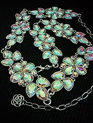 Phenovo Womens Bling Crystal Rhinestone Flower Waist Chain Belt Silver + Colorful